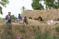 Dokumentarischer redaktioneller Handstrichziegel in Indien Lizenzfreies Stockbild