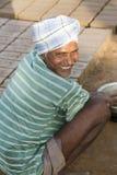 Dokumentarischer redaktioneller Handstrichziegel in Indien Lizenzfreie Stockfotos