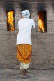 Dokumentarischer redaktioneller Handstrichziegel in Indien Lizenzfreie Stockbilder