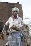 Dokumentarischer redaktioneller Handstrichziegel in Indien Lizenzfreies Stockfoto