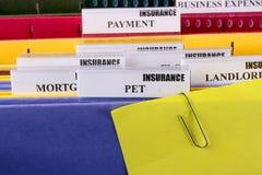 Dokumente für Versicherung Stockfotos