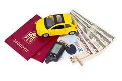 Dokumente und Eigentum, zum mit dem Auto zu reisen lizenzfreie stockbilder