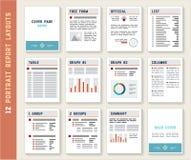 Dokumenten-Berichts-Porträt-Plan-Schablonen-Modell-Satz Stockfoto