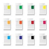 Dokumenten-Farben-Ikonen lizenzfreie stockbilder
