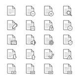 Dokumenten-Ikonen-Linie Stockfotos