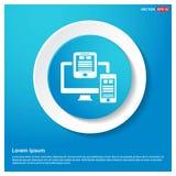 Dokumenten-Ikonen-Zusammenfassungs-blauer Netz-Aufkleber-Knopf Stockfotos