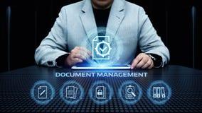 Dokumenten-Management-Daten-System-Geschäfts-Internet-Technologie-Konzept stockfotografie