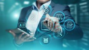 Dokumenten-Management-Daten-System-Geschäfts-Internet-Technologie-Konzept lizenzfreie stockfotografie