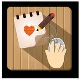 Dokumenten-und Bleistift-Vektor-Ikone - Illustration Stockfoto