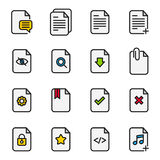 Dokumentenfluss-Management-Vektor-Linie Ikonen Lizenzfreie Stockfotos