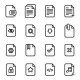 Dokumentenfluss-Management-Vektor-Linie Ikonen Stockfoto