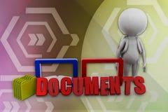 Dokumentenillustration des Mannes 3D Stockfotografie