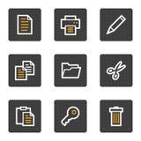 Dokumentenweb-Ikonen, Grau knöpft Serie Lizenzfreies Stockbild
