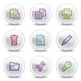 Dokumentieren Sie Web-Farbenikonen, weiße Kreistasten Stockbild