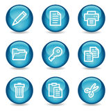 Dokumentieren Sie Web-Ikonen, blaue glatte Kugelserie Stockfotografie