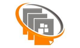 Dokumentiert Zirkulation Logo Design Template stock abbildung