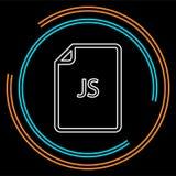 Dokumentsymbol för nedladdning JS - vektormappformat royaltyfri illustrationer