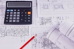 Dokumenty dla projekt inżynierii pracy obraz stock