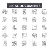 Dokumenty prawni wykładają ikony dla sieci i mobilnego projekta Editable uderzenie znaki Dokumentu prawnego konturu pojęcie ilustracji
