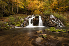 Dokuzak waterfall in Strandja mountain, Bulgaria during autumn. Beautiful view of a river with an waterfall in the forest. Stock Images