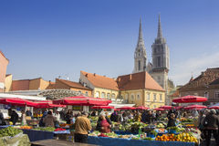 Dolac Marketplace in Zagreb. ZAGREB/CROATIA-MARCH 14: Dolac Marketplace in Zagreb. It is the largest and most famous market in the very center of the city, on royalty free stock photo