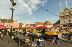 Dolac marknad i Zagreb, Kroatien Royaltyfria Foton