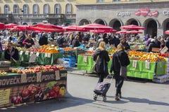 Dolac-Markt in Zagreb Stockbilder