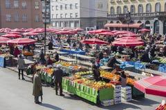 Dolacmarkt in Zagreb stock foto