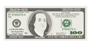 100 dolarów banknotów, wystawiają rachunek sto dolarów, amerykański prezydent Benjamin Franklin ilustracji