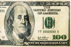 100 dolarów Dolarowego banknotu Bill zbliżenia odizolowywającego Fotografia Royalty Free