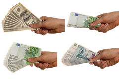 Dolarów euro i rubla rachunki, Zdjęcia Stock