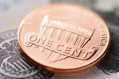 dolar amerykański i cent zdjęcia stock