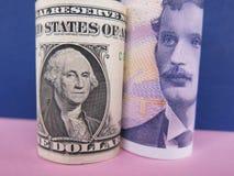 dolar amerykański i Norweski krone Fotografia Royalty Free