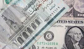 dolar amerykański versus Egipski funt Zdjęcia Royalty Free