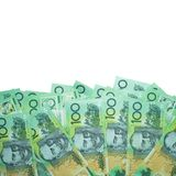 Dolar australijski, Australia pieniądze 100 dolarów banknot sterty na białym tle z ścinek ścieżką zdjęcie stock