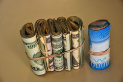 Dolar azul, dólar americano, pesos chilenos, Argentina Fotografia de Stock