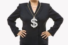 dolar bizneswomanu znak zdjęcia stock