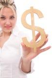 dolar bizneswomanu znak Fotografia Stock