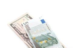 Dolar contra euro Fotografía de archivo libre de regalías