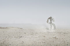 Dolar crush. Crush of dolar sign in desert ( 3d render an photo of desert Royalty Free Stock Photo