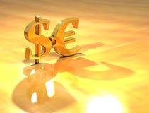 Dolar ed euro Fotografia Stock Libera da Diritti