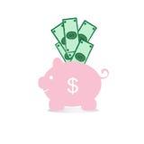 Dolar en roze spaarvarken op een witte achtergrond Stock Afbeeldingen