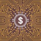 Dolar firma encima la bandera del concepto de sistema del centro de Chip Moterboard Backgroung Network Data del ordenador libre illustration