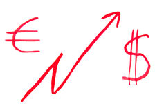 Dolar i euro rozkład Zdjęcie Royalty Free