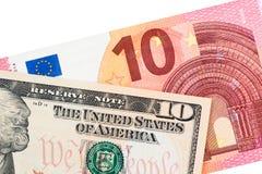 Dolar i euro, symboli/lów differencies Obrazy Royalty Free