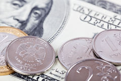 Dolar i rubel Zdjęcia Royalty Free