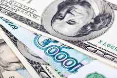 Dolar i rubel Fotografia Stock