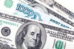 Dolar i rubel Zdjęcia Stock