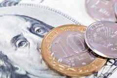 Dolar i rubel Obrazy Stock