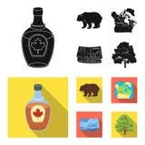 Dolar kanadyjski, terytorium mapa i inni symbole kraj, Kanada ustalone inkasowe ikony w czarnym, mieszkanie stylowy wektor Obrazy Stock